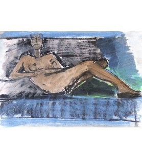 Reclining Nude on Blue by...