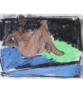 Reclining Nude on Blue and...